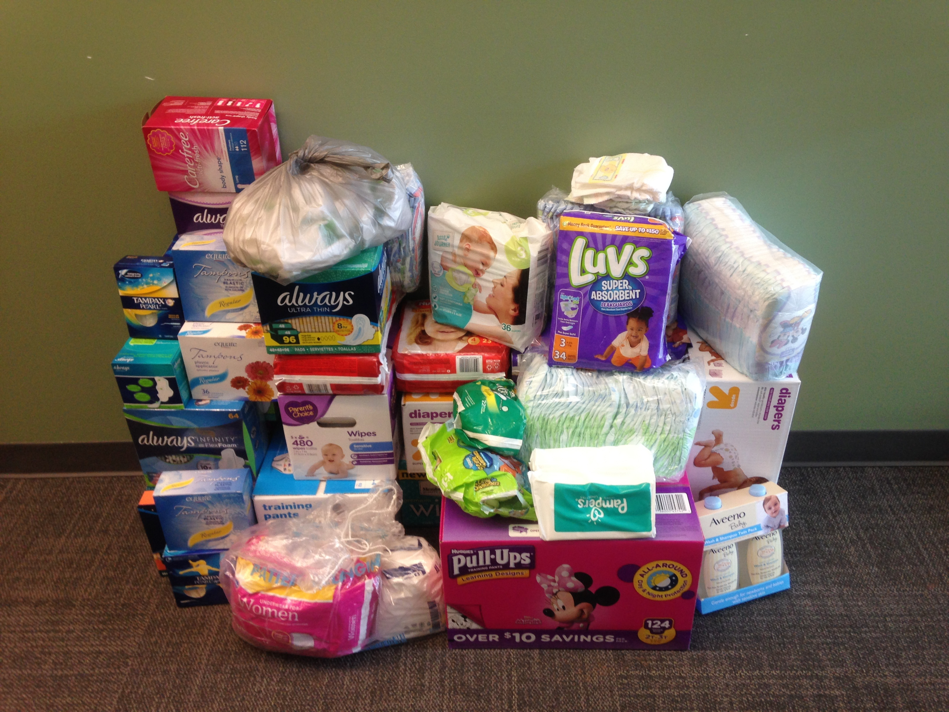 All the supplies that were collected and donated to the NC Diaper Bank.